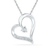 10kt White Gold Womens Round Diamond Heart Pendant .01 Cttw