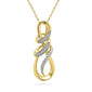 10kt Yellow Gold Womens Round Diamond Infinity Anniversary Love Pendant 1/10 Cttw