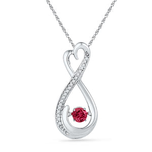 Sterling Silver Womens Round Lab-Created Ruby Infinity Pendant 1/3 Cttw