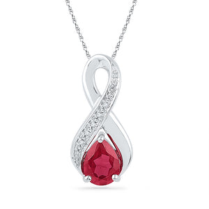 10kt Yellow Gold Womens Pear Lab-Created Ruby Diamond Fashion Pendant 1-3/4 Cttw