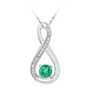Sterling Silver Womens Round Lab-Created Emerald Infinity Diamond Pendant 1/2 Cttw
