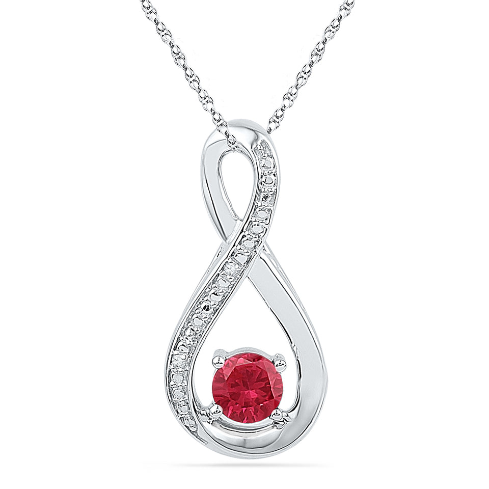 10kt White Gold Womens Round Lab-Created Ruby Diamond Fashion Pendant 5/8 Cttw