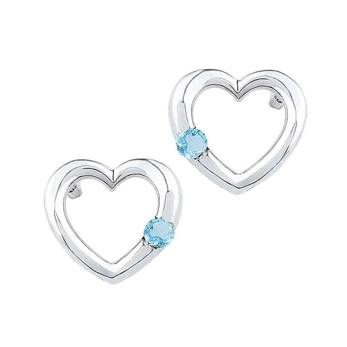 Sterling Silver Womens Round Lab-Created Blue Topaz Heart Earrings 1/6 Cttw