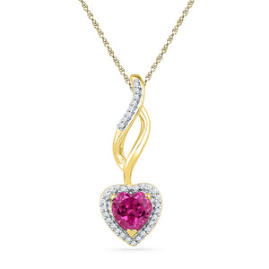 10kt Yellow Gold Womens Round Lab-Created Pink Sapphire Solitaire Pendant 1-1/8 Cttw