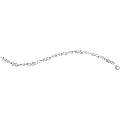 Sterling Silver Womens Round Diamond Mom Mother Heart Link Bracelet .03 Cttw