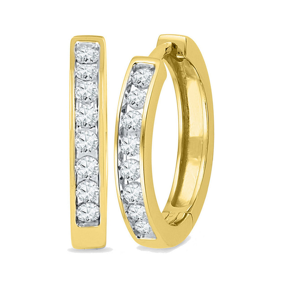 10kt Yellow Gold Womens Round Diamond Hoop Earrings 1/2 Cttw