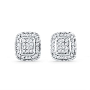 10kt White Gold Womens Round Diamond Square Cluster Stud Earrings 1/4 Cttw