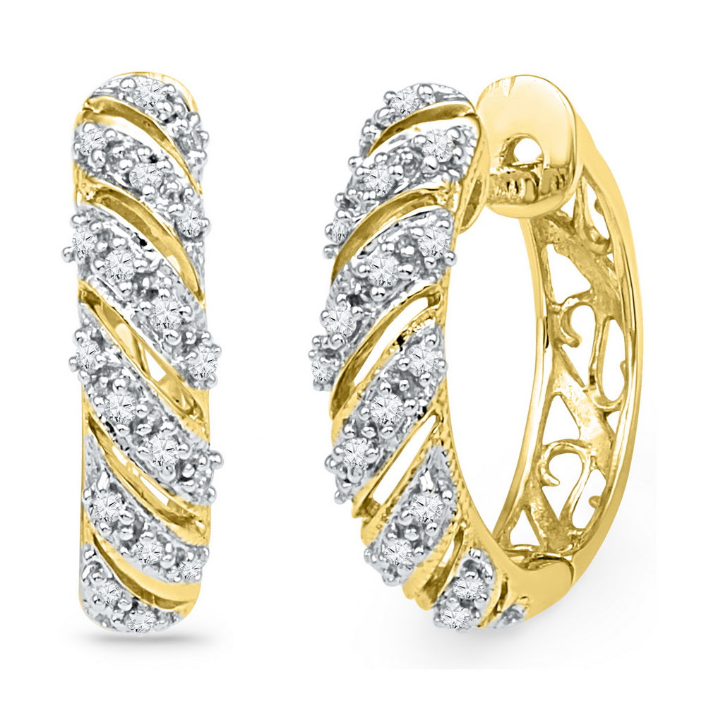 10kt Yellow Gold Womens Round Diamond Diagonal Stripe Hoop Earrings 1/6 Cttw