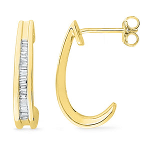 10kt Yellow Gold Womens Baguette Diamond Half J Hoop Earrings 1/6 Cttw