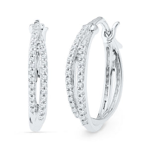10kt White Gold Womens Round Diamond Double Row Hoop Earrings 1/4 Cttw