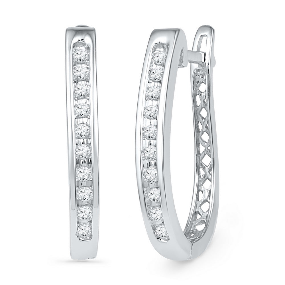 10kt White Gold Womens Round Diamond Slender Single Row Oblong Hoop Earrings 1/5 Cttw