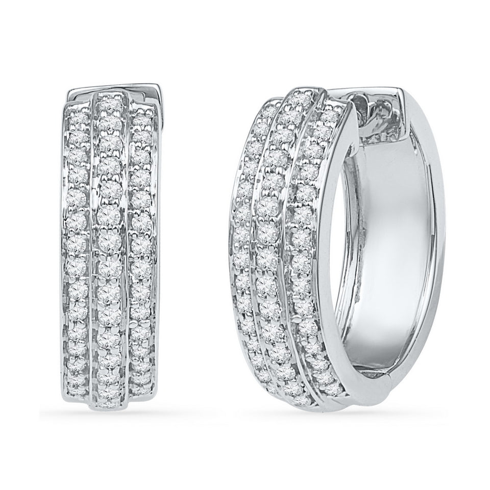 10kt White Gold Womens Round Diamond Hoop Earrings 1/2 Cttw