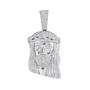 10kt White Gold Mens Round Diamond Jesus Christ Messiah Head Charm Pendant 2.00 Cttw