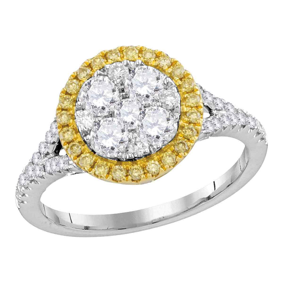 18kt White Gold Womens Round Yellow Diamond Cluster Bridal Wedding Engagement Ring 1-1/10 Cttw