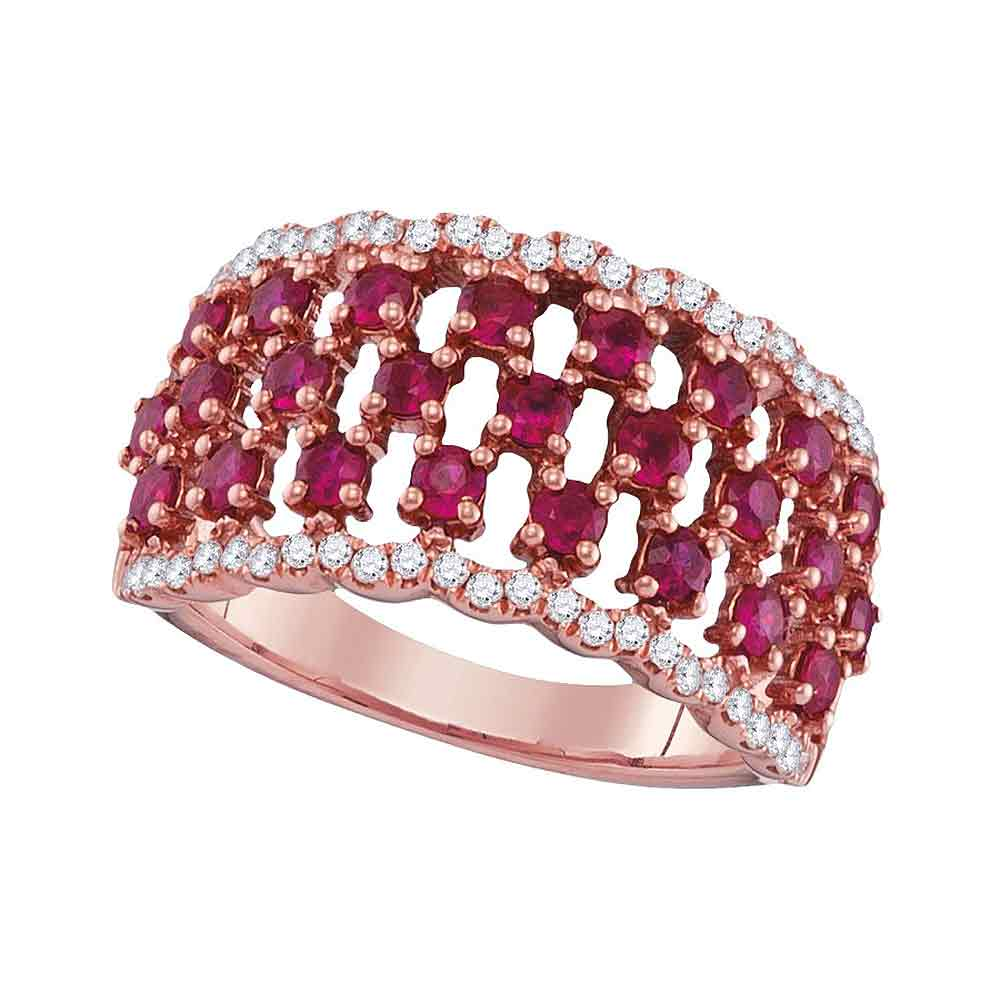 18kt Rose Gold Womens Round Ruby Diamond Fashion Band Ring 1-1/2 Cttw