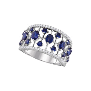 18kt White Gold Womens Round Blue Sapphire Fashion Band Ring 1-3/4 Cttw