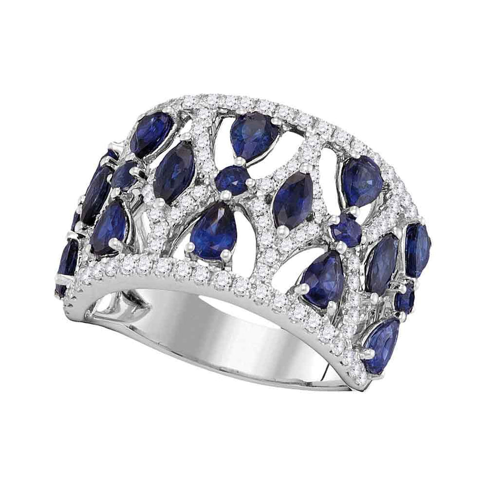 18kt White Gold Womens Pear Prong-set Blue Sapphire Openwork Band 4.00 Cttw