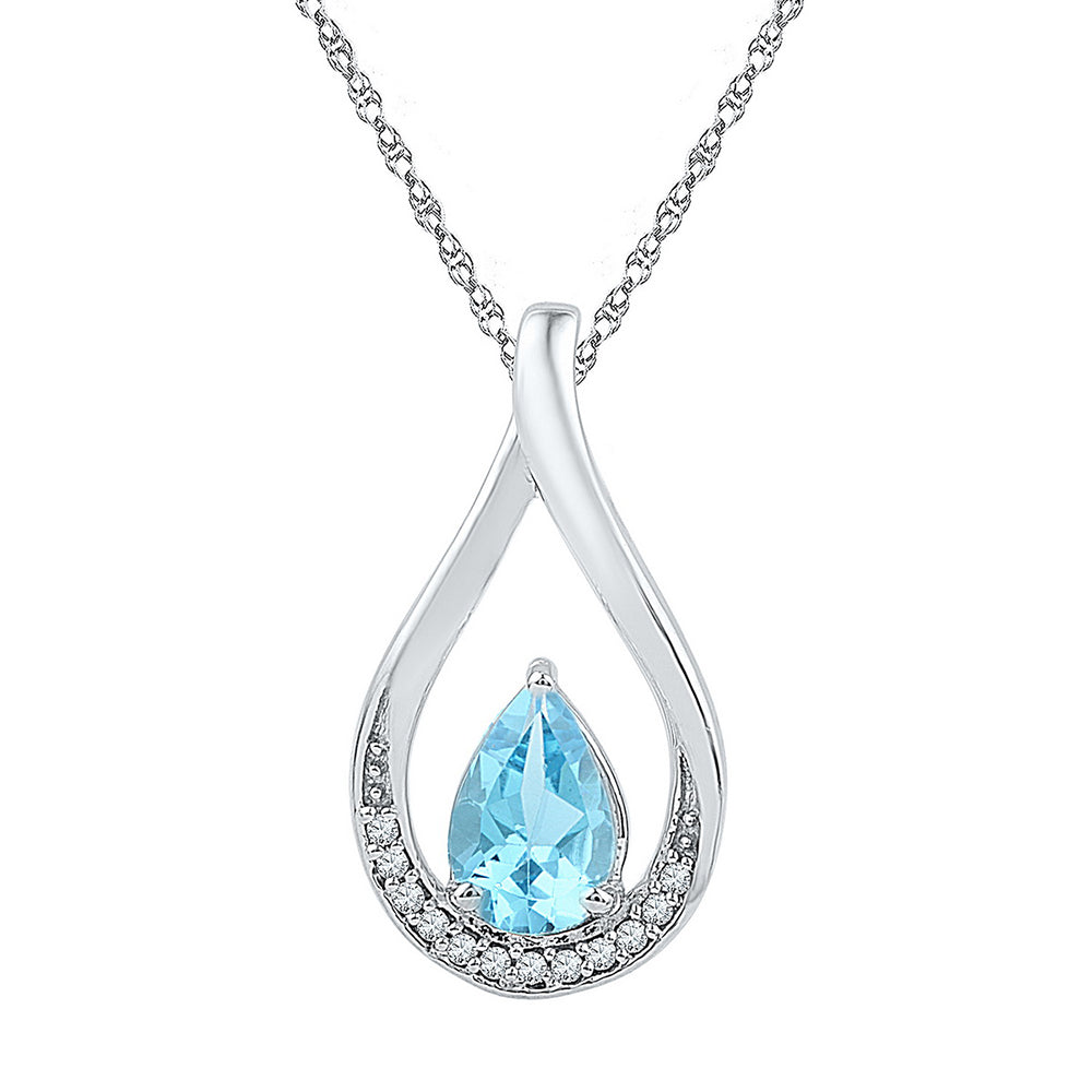 Sterling Silver Womens Pear Lab-Created Blue Topaz Fashion Pendant 1-1/20 Cttw