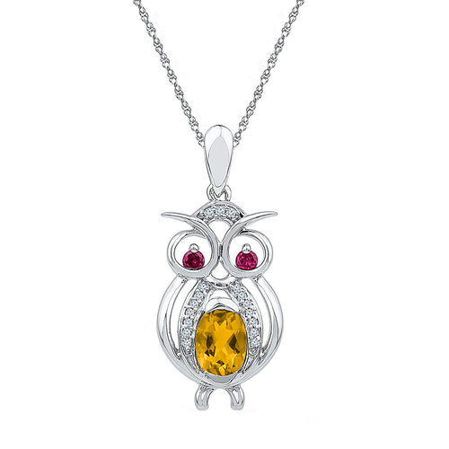 Sterling Silver Womens Oval Lab-Created Citrine Owl Bird Animal Pendant 1-1/10 Cttw