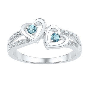 Sterling Silver Womens Round Lab-Created Aquamarine Diamond Heart Ring 1/5 Cttw