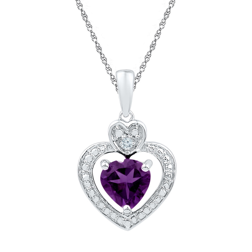 10kt White Gold Womens Heart Lab-Created Amethyst Heart & Diamond Pendant 3/4 Cttw