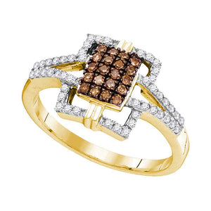 10kt Yellow Gold Womens Round Cognac-brown Color Enhanced Diamond Square Ring 1/3 Cttw