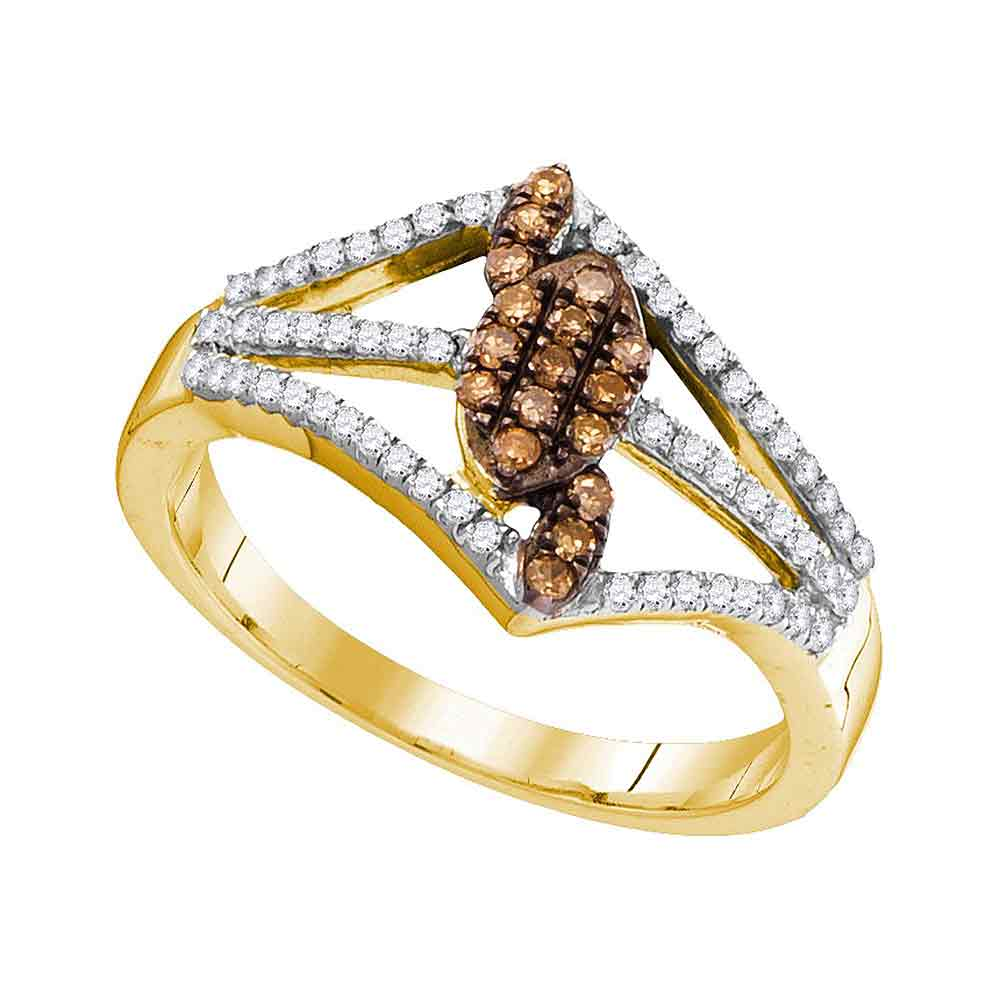 10kt Yellow Gold Womens Round Cognac-brown Color Enhanced Diamond Cluster Openwork Strand Ring 1/3 Cttw