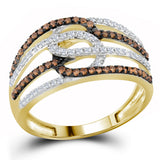 10kt Yellow Gold Womens Round Cognac-brown Color Enhanced Diamond Linked Loop Band Ring 3/8 Cttw