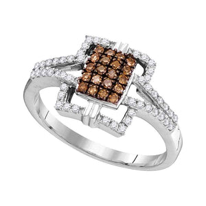 10kt White Gold Womens Round Cognac-brown Color Enhanced Diamond Square Ring 1/3 Cttw