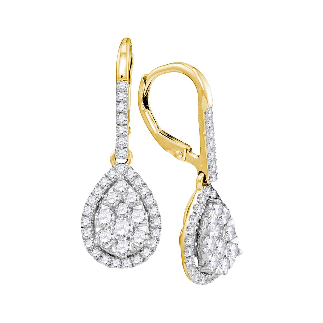 14kt Yellow Gold Womens Round Diamond Leverback Teardrop Dangle Earrings 1-3/8 Cttw