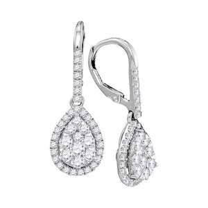 14kt White Gold Womens Round Diamond Leverback Teardrop Dangle Earrings 1-3/8 Cttw