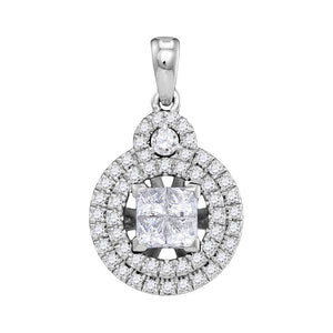 14kt White Gold Womens Princess Diamond Cluster Circle Frame Pendant 7/8 Cttw