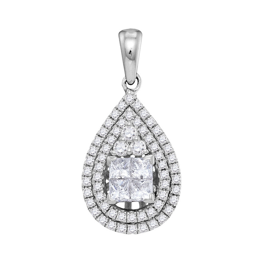 14kt White Gold Womens Princess Diamond Teardrop Cluster Pendant 1.00 Cttw