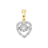10kt Yellow Gold Womens Round Diamond Moving Twinkle Solitaire Heart Pendant 1/12 Cttw