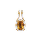 14kt Yellow Gold Womens Cushion Citrine Solitaire Diamond Frame Pendant 7/8 Cttw