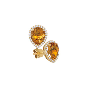 14kt Yellow Gold Womens Pear Citrine Solitaire Diamond Frame Earrings 1-1/2 Cttw