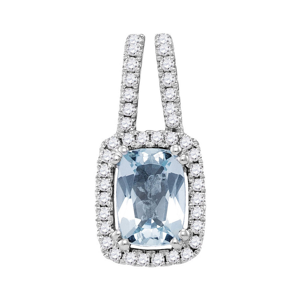 14kt White Gold Womens Cushion Aquamarine Solitaire Diamond Frame Pendant 1.00 Cttw