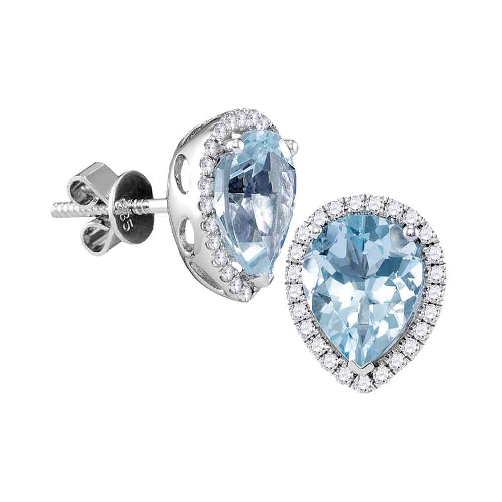 14kt White Gold Womens Pear Aquamarine Diamond Stud Earrings 1-1/2 Cttw