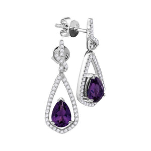 14kt White Gold Womens Pear Amethyst Solitaire Teardrop Diamond Frame Dangle Earrings 1/3 Cttw