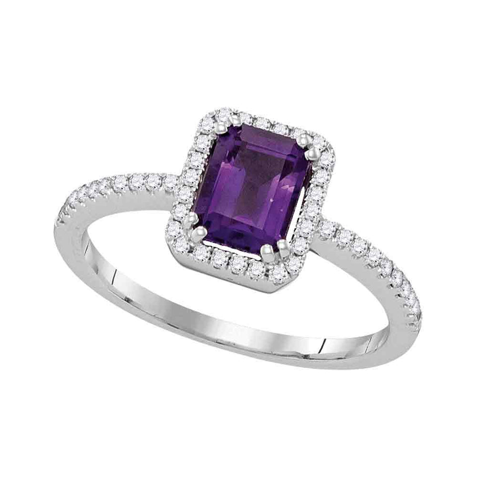 14kt White Gold Womens Emerald Amethyst Solitaire Diamond-accent Ring 1/5 Cttw