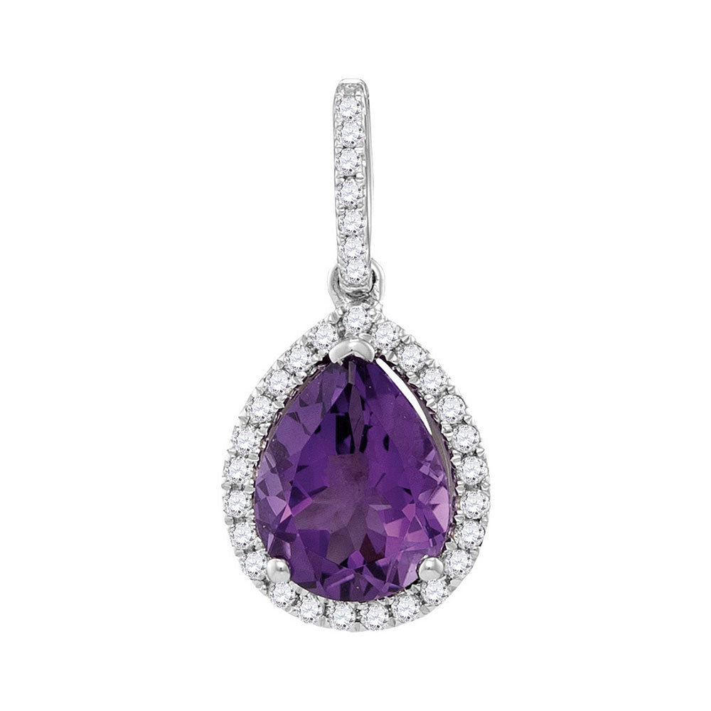 14kt White Gold Womens Pear Amethyst Teardrop Diamond Frame Pendant 1-1/2 Cttw