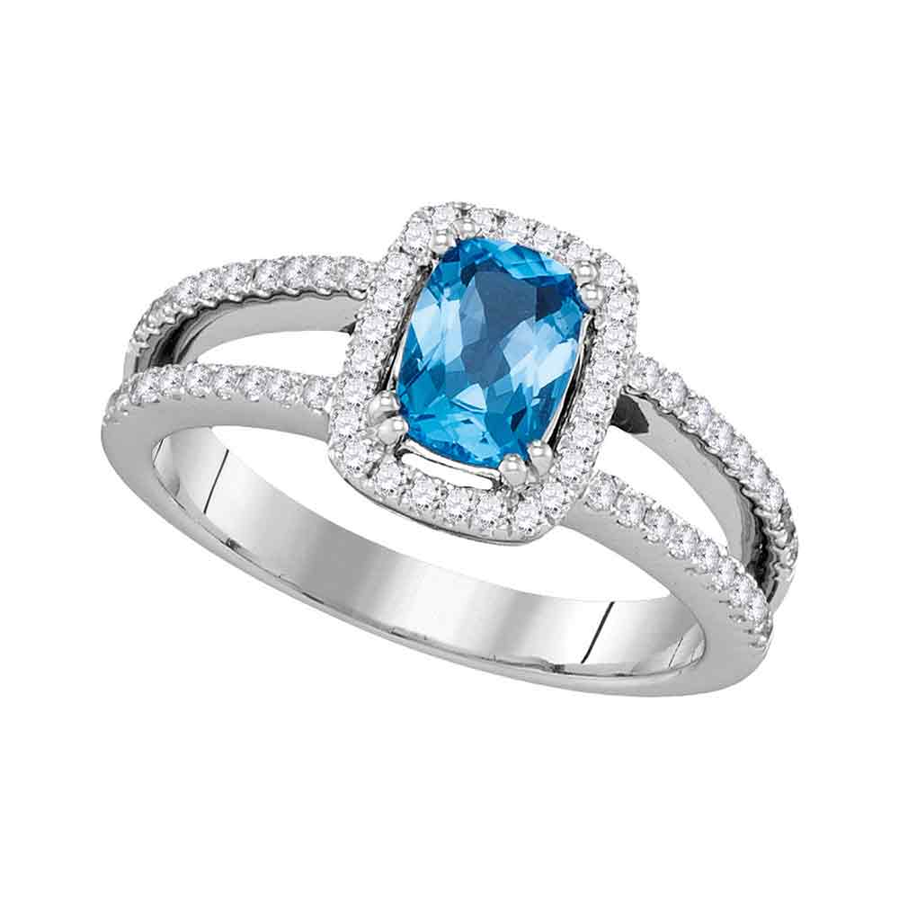 14kt White Gold Womens Oval Blue Topaz Solitaire Diamond-accent Ring 1-1/5 Cttw