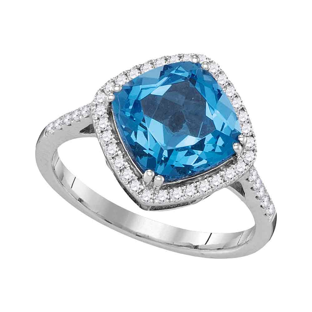 14kt White Gold Womens Cushion Blue Topaz Solitaire Diamond Halo Ring 3-7/8 Cttw