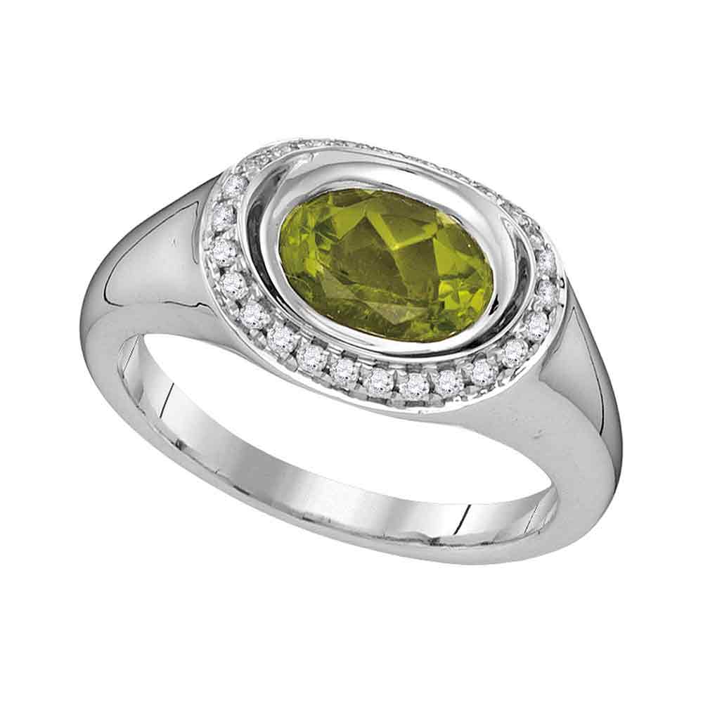 14kt White Gold Womens Oval Peridot Solitaire Diamond Accent Ring 1-1/2 Cttw