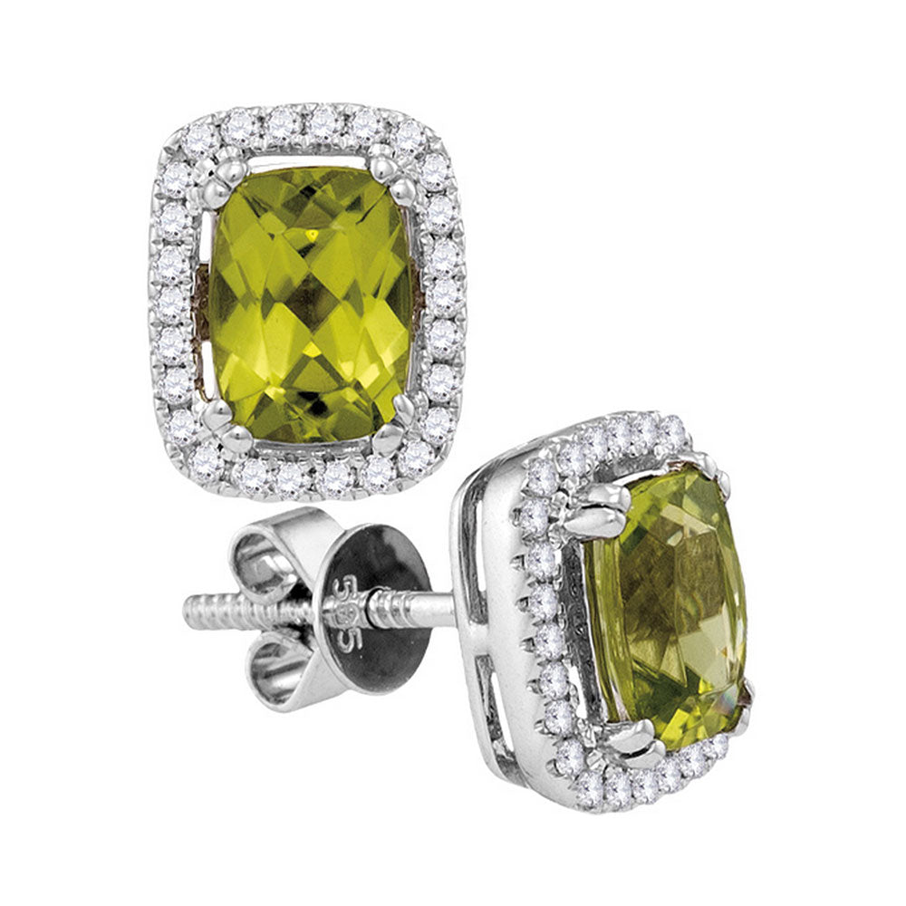 14kt White Gold Womens Cushion Peridot Solitaire Rectangle Frame Earrings 1.00 Cttw