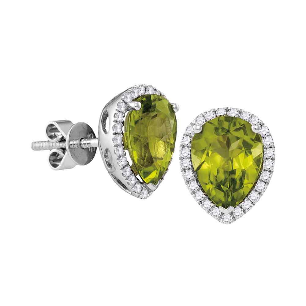 14kt White Gold Womens Pear Peridot Solitaire Diamond Frame Earrings 1-5/8 Cttw
