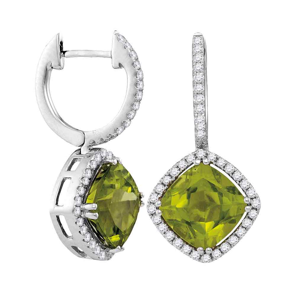 14kt White Gold Womens Princess Peridot Solitaire Diagonal Square Diamond Frame Earrings 2-1/8 Cttw