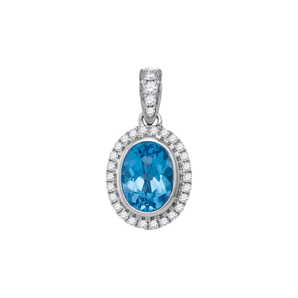 14kt White Gold Womens Oval Blue Topaz Solitaire Diamond-accent Pendant 1/6 Cttw