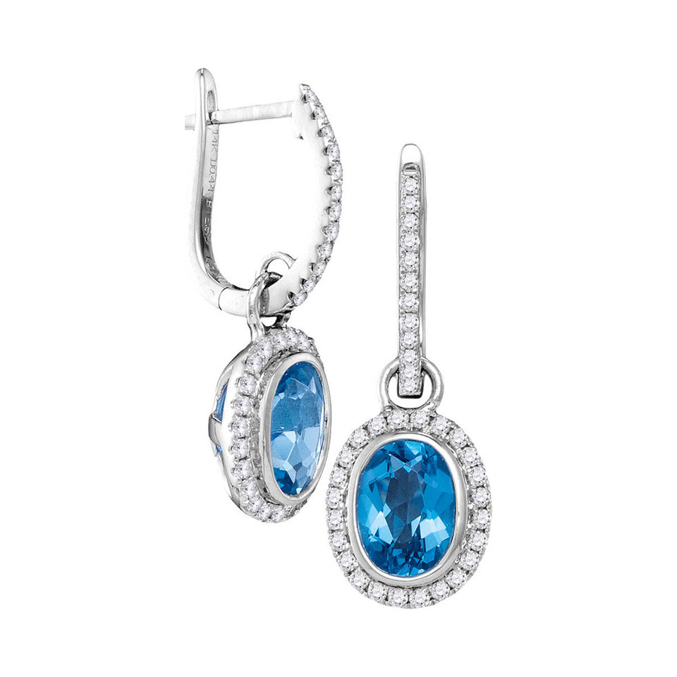 14kt White Gold Womens Round Natural Blue Topaz Diamond Oval Dangle Earrings 3-1/8 Cttw