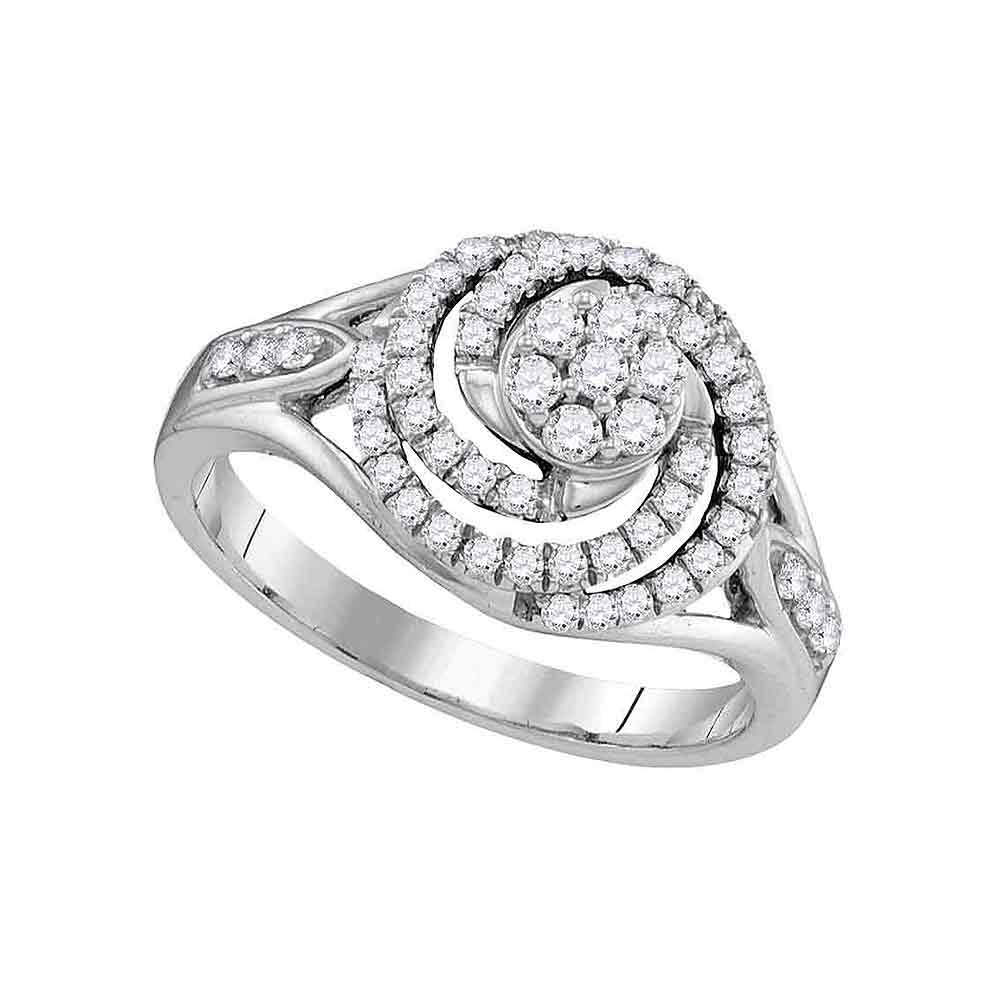 10kt White Gold Womens Round Diamond Flower Cluster Swirl Ring 1/2 Cttw